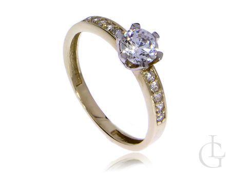 Złoty pierścionek zaręczynowy pr.0,585 z cyrkoniami