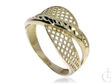 Ażurowy pierścionek obrączka ze złota pr.0,585