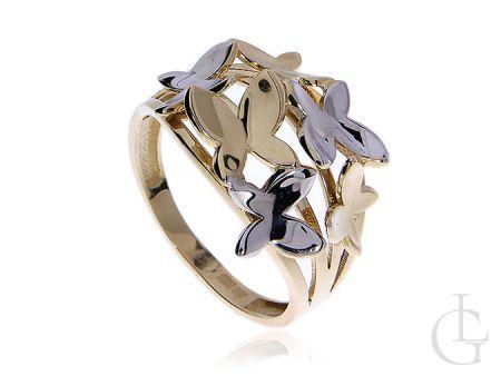 Pierścionek z dwukolorowego złota pr.0,585 z motylami