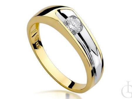 Pierścionek zaręczynowy złoty z diamentem