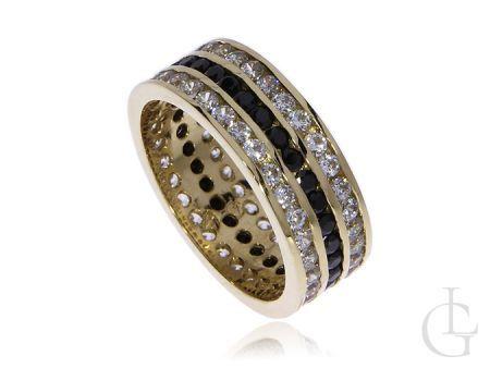 Pierścionek obrączka ze złota pr.0,585 z trzema rzędami cyrkoni w czarnym i klasycznym kolorze