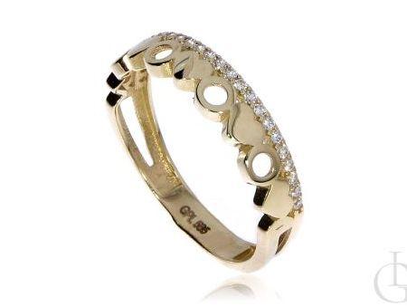 Prześliczny pierścionek obrączka ze złota pr.0,585 z cyrkoniami i serduszkami