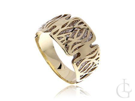 Złoty pierścionek obrączka pr.0,585z białym złotem