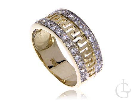 Złoty pierścionek szeroka obrączka pr.0,585 z greckim wzorem i cyrkoniami