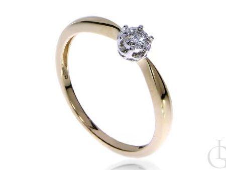 Pierścionek zaręczynowy z żółtego złota pr.0,585 z brylantem