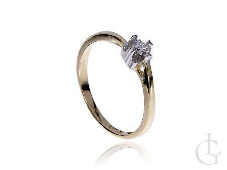 Pierścionek na zaręczyny z brylantem złoto pr.0,585