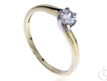 Złoty pierścionek zaręczynowy pr.0,585 z cyrkonią