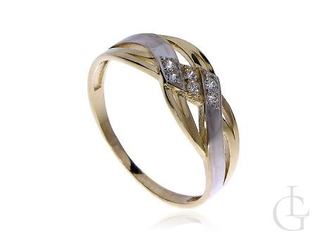 Złoty pierścionek pr.0,585 z białym rodowanym złotem i cyrkoniami