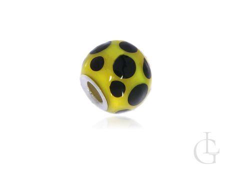 Charms przywieszka do bransoletki modułwej srbro pr.0,925 korslik żółty w czarne kropki