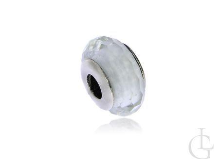 Przywieszka do bransoletki modułowej charms srebro pr.0,925 biały szkło weneckie