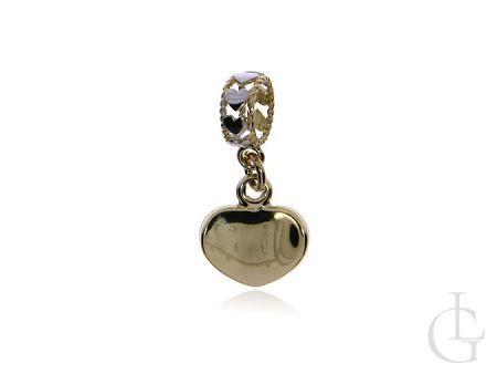 Złoty wisiorek zawieszka beads charms zerduszko