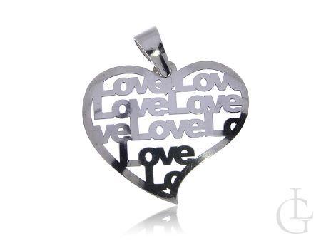 Zawieszka ze srebra pr.0,925 serduszko ażurowe z napisami love miłość