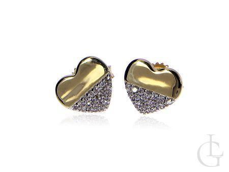 Złote kolczyki pr.0,585 na sztyft serduszka z brylantami