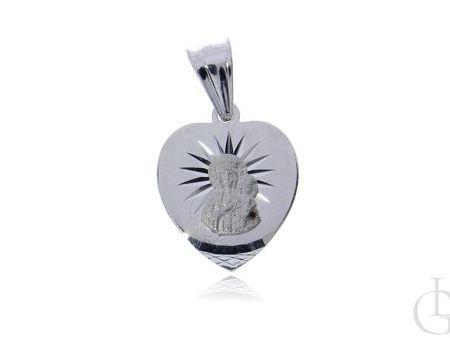 Medalik serduszko Matka Boska Częstochowska srebro pr.0,925