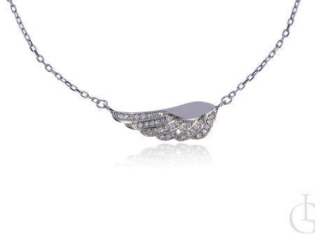 Naszyjnik celebrytka srebro rodowane pr.0,925 ze skrzydłem
