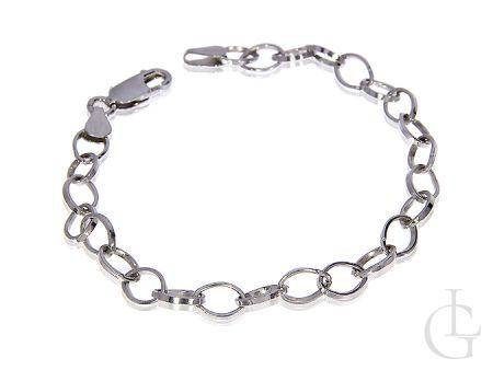 Bransoletka srebro rodowane ogniwkowa do charmsów