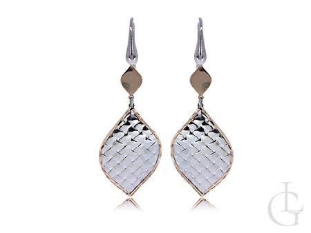 Kolczyki srebrne wiszące listki srebro pozłacane