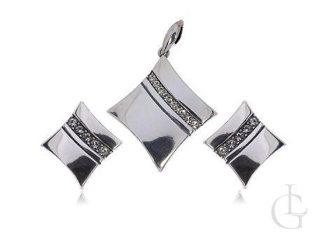 Komplet biżuterii ze srebra pr.0,925 romby z cyrkoniami