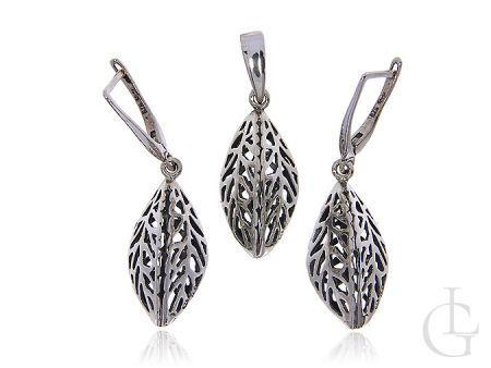 Przestrzenny komplet biżuterii srebrnej ażurowy srebro pr.0,925