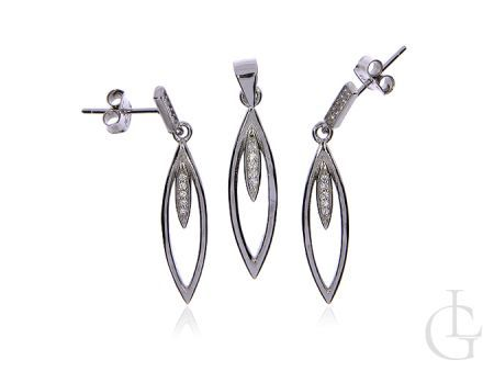 Delikatny komplet biżuterii srebrnej pr.0,925 z cyrkoniami