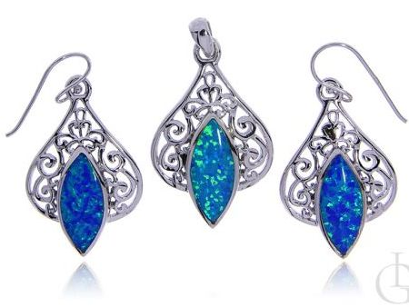 Kolczyki wiszące wisiorek ze srebra rodowanego pr.0,925 z opalem błękitnym prezent