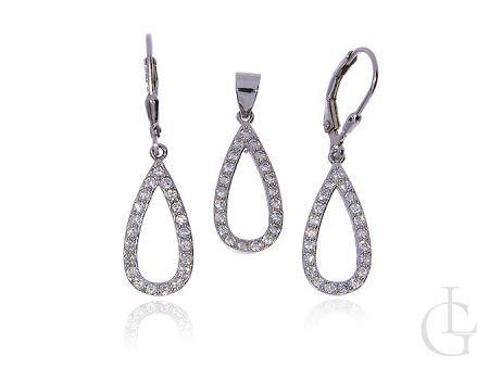 Komplet biżuterii ze srebra pr.0,925 z cyrkoniami