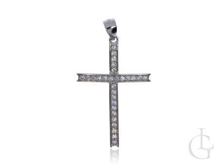 Krzyżyk wysadzany cyrkoniami srebro rodowane pr.0,925