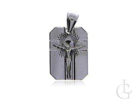 Blaszka ze srebra rodowanego pr.0,925 z wizerunkiem Pana Jezusa na krzyżu