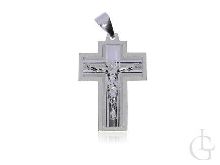 Okazały krzyż ze srebra rodowanego pr.0,925 z wizerunkiem Jezusa