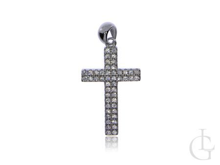 Krzyżyk z cyrkoniami ze srebra rodowanego pr.0,925