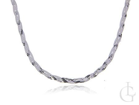 Srebrny łańcuszek pr.0,925 pleciona taśma diamentowana