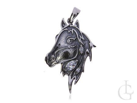 Okazała zawieszka głowa konia ze srebra pr.0,925 z cyrkoniami