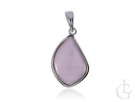 Wisiorek ze srebra pr.0,925 z różową masą perłową