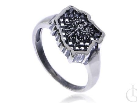 Sygnet męski pierścionek ze srebra pr.0,925 z orłem w koronie GODŁO POLSKI