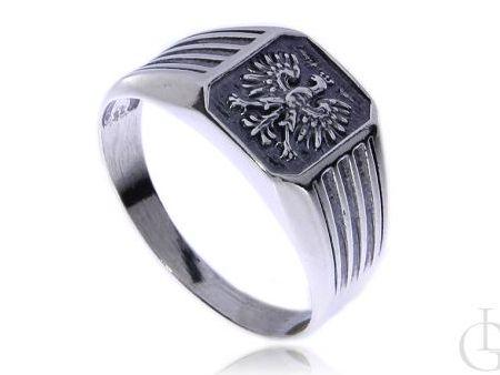 Sygnet pierścionek męski ze srebra pr.0,925 z orłem w koronie Godło Polski