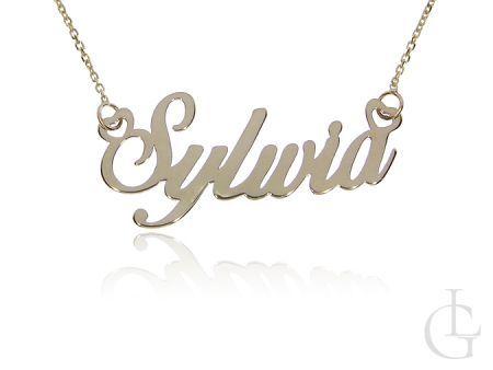 Sylwia naszyjnik złoty pr.0,585 celebrytka z imieniem łańcuszek z napisem