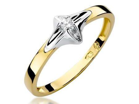 Pierścionek ze złota 14 k na zaręczyny z brylantem