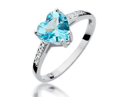 Piękny pierścionek z białego złota pr.0,585 z topazem w kształcie serca i brylantami