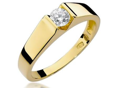 Klasyczny pierścionek ze złota 14k na zaręczyny z diamentem