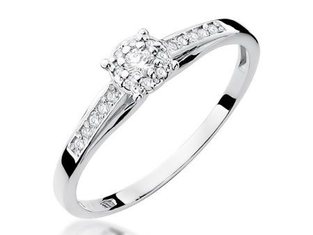 Przepiękny pierścionek na zaręczyny z 14 k białego złota z diamentami