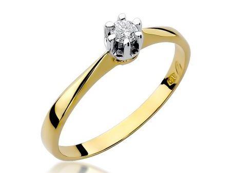 Złoty pierścionek pr.0,585 na zaręczyny z brylantem