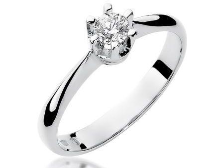 Pierścionek z białego złota pr.0,585 na zaręczyny z diamentem
