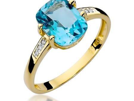 Pierścionek ze złota pr. 0,585 na zaręczyny z topazem naturalnym i brylantami