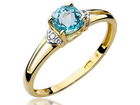 Złoty pierścionek 14 k na zaręczyny z topazem i brylantami