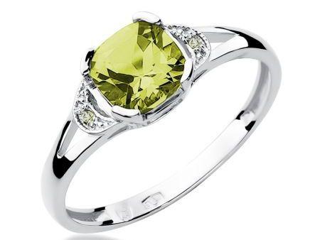 Pierścionek zaręczynowy pr.0,585 z oliwinem i brylantami białe złoto