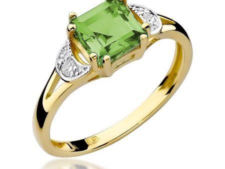 Pierścionek zaręczynowy pr.0,585 z oliwinem i brylantami