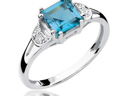Pierścionek zaręczynowy pr.0,585 z topazem i brylantami białe złoto