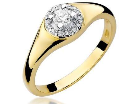 Pierścionek z klasycznego złota pr.0,585 z brylantami na zaręczyny