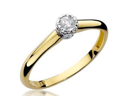 Pierścionek na zaręczyny z klasycznego żółtego złota pr.0,585 z brylantem