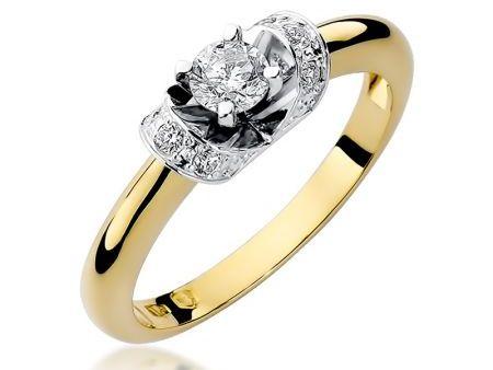 Bogato wysadzany diamentami złoty pierścionek zaręczynowy pr.0,585